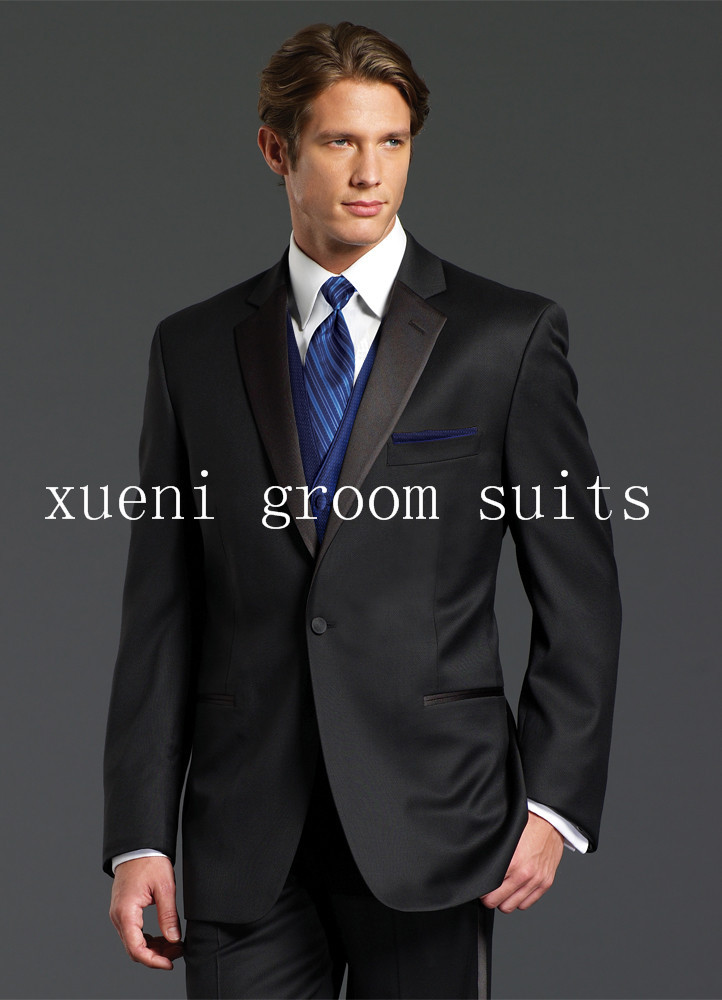 2015 Nice Suits Black Notch Lapel One Button Groom Tuxedos