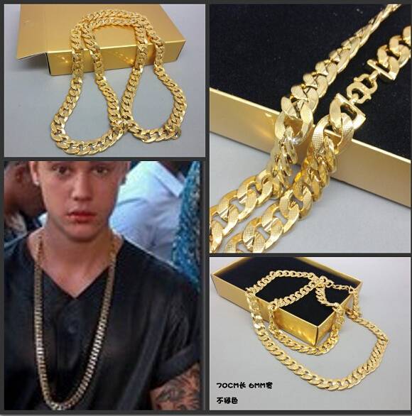 Imitation 24k Gold Men Large Long Necklace Young Jeez Jay-z Cuban Chains Texture 6mm Hip Hop Chain(China (Mainland))