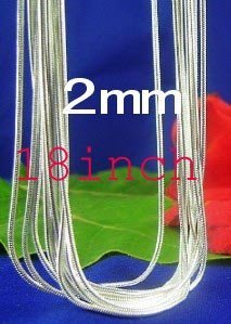 Promotions!Free shipping 925 sterling silver 2mm 18inch length snake chain silver necklace. C24