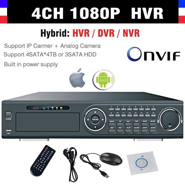 4 Channel 4CH Full D1 H.264 Recording Full 1080P NVR  CCTV Standalone Hybrid DVR/HVR/NVR Support Analog Camera + IP Camera ONVIF<br><br>Aliexpress