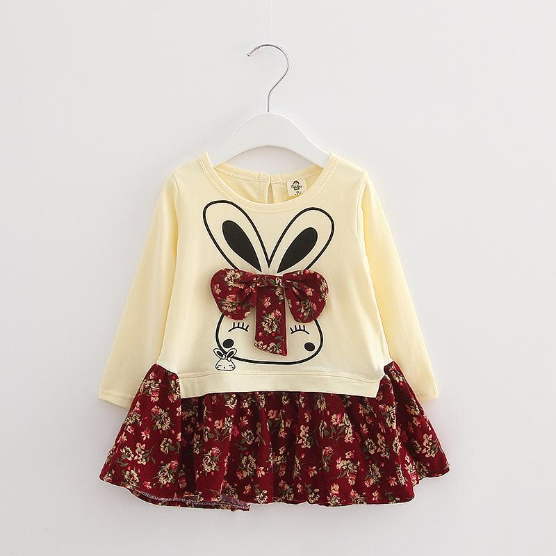 2016 New Korea Style Fashion Girls Clothing Floral Dress Of Rabbit Picture Patchwork Bowknot Vestidos Children PulloverTJ0014(China (Mainland))