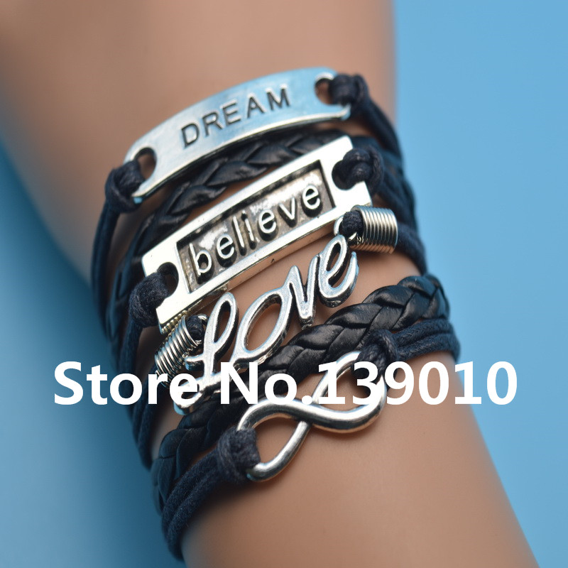 Antique Silver Alloy Dream Believe LOVE Infinity Charm Black Leather Rope Bracelet Bangles Men Customize Wristband Jewelry - AFSHOR Store store