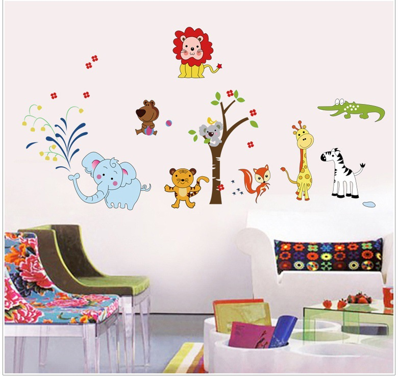 Zoo Lion Elephant Cartoon Wall Stickers For Kids Room Decorations Kindergarten Adesivo De Parede Removable PVC Wall Mural(China (Mainland))
