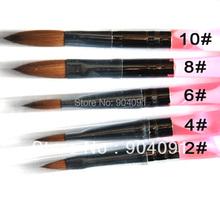 HOTSALE 5pcs/SET 2#/4#/6#/8#/10# Kolinsky Sable Brush Acrylic Nail Art Builder Brush Design for acrylic nail brushes set(China (Mainland))