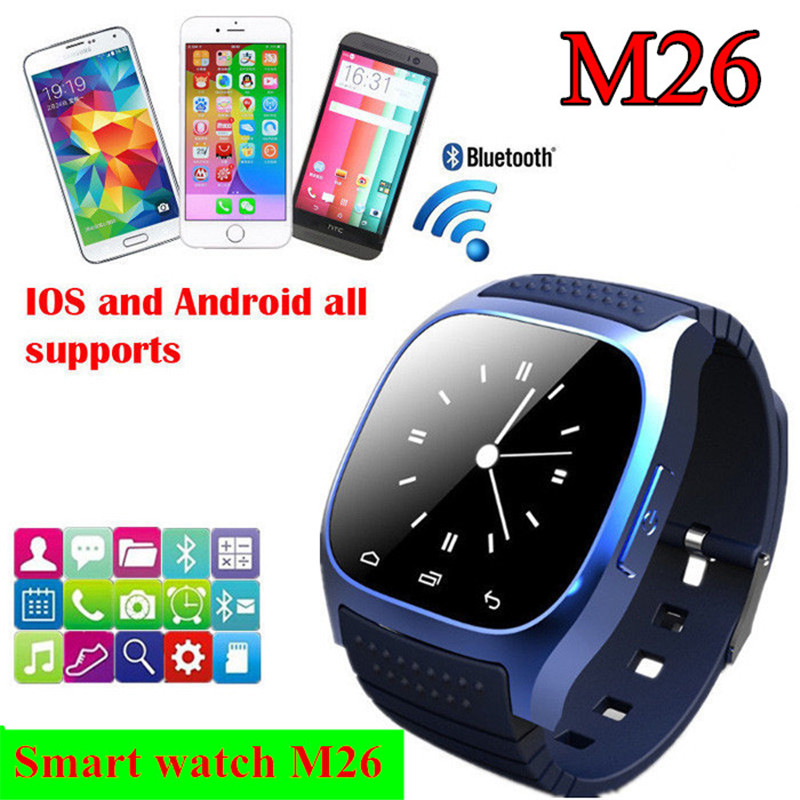 Hot sale Bluetooth Smart Watch M26 with LED display / Dial / SMS Reminding / Music Player / Pedometer for Iphone Android Phone(China (Mainland))