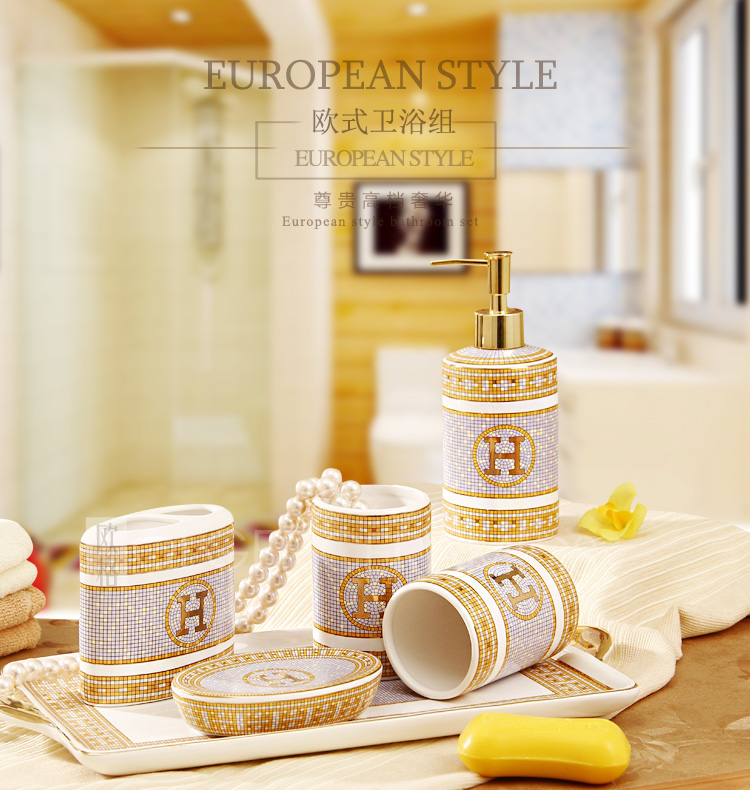luxury bathroom sets ceramic cleaning products toothbrush holder soap dish shampoo bottle gift fashion washing room