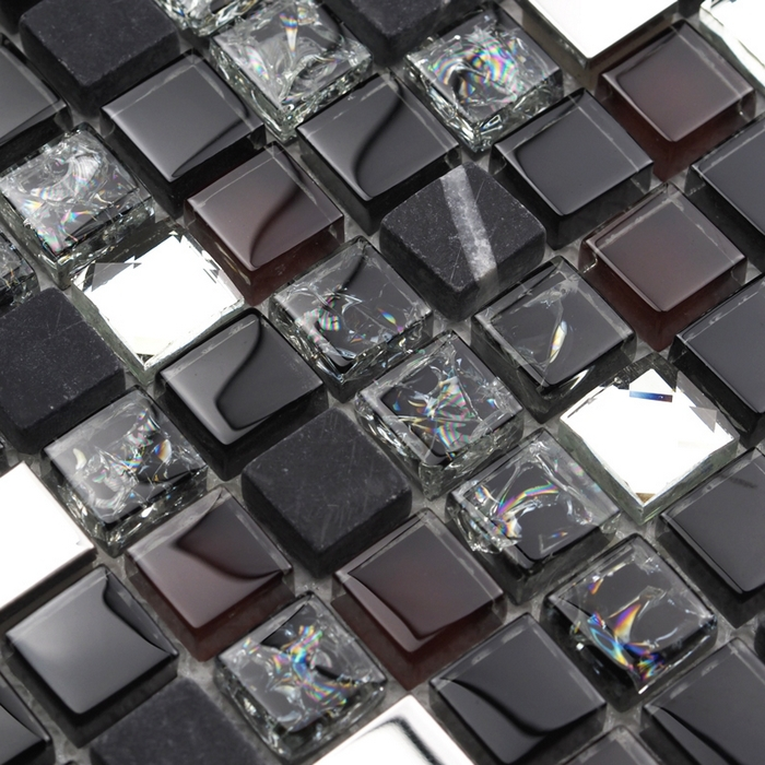 black color stone mixed glass tiles for kitchen backsplash tile bathroom shower mosaic kid room tiles dining room wall tiles(China (Mainland))