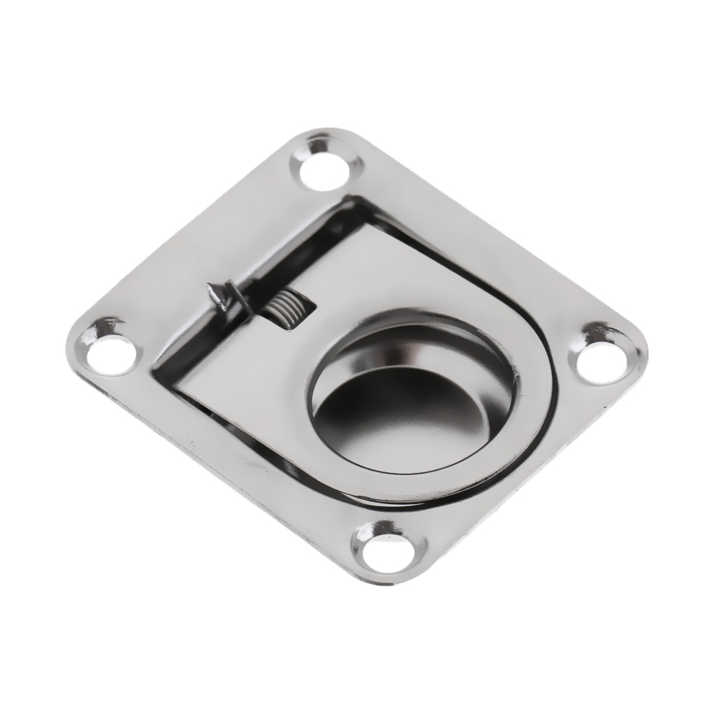 1 Pcs 42 x 36mm Durable Marine Stainless Steel Boat Deck Hatch Cabinet Drawer Lifting Handle Pull Ring Flush Mount Boat Hardware