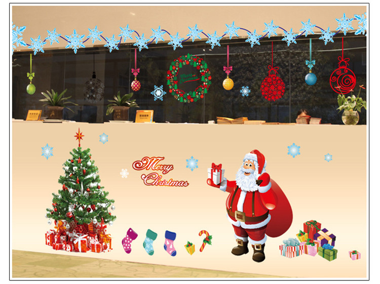 Latest large xl merry christmas wall sticker kids gift for Christmas wall mural plastic