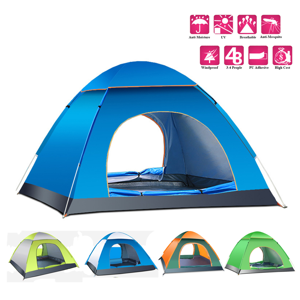 Quick Opening Double Layer 3/4 Person Rainproof Outdoor Tourist Camping Tent for Bivouac Hiking Fishing Hunting 200*200*135cm(China (Mainland))