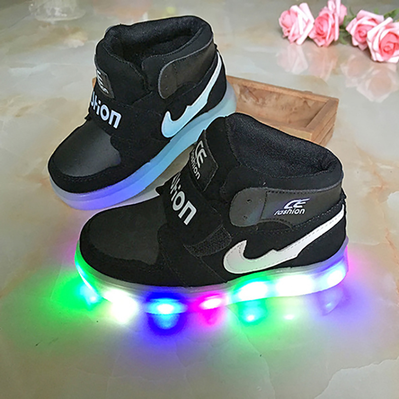 2015 Lighted Winter Children Boots Thick Warm Cotton-Padded Hook&Loop Boys Girls Boots Boys Children Shoes Kids Shoes Led G7(China (Mainland))