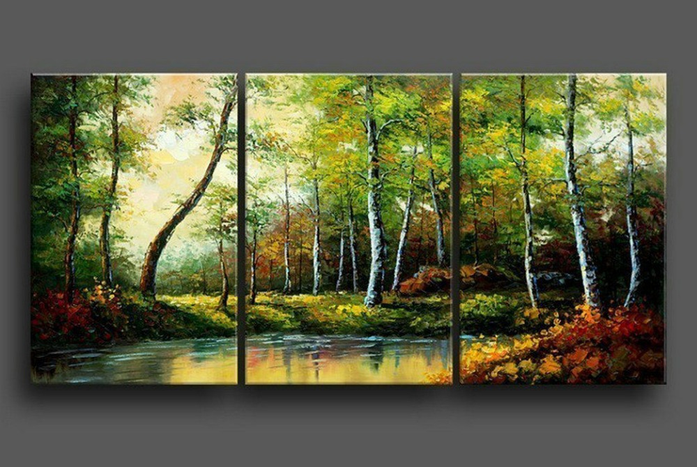 hand painted stretched framed oil wall art Green forest ...