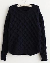 Autumn And Winter Retro Twist Fluorescent Green Argyle Pullover Crewneck Long Sleeve Knit Sweater Women WDM26(China (Mainland))