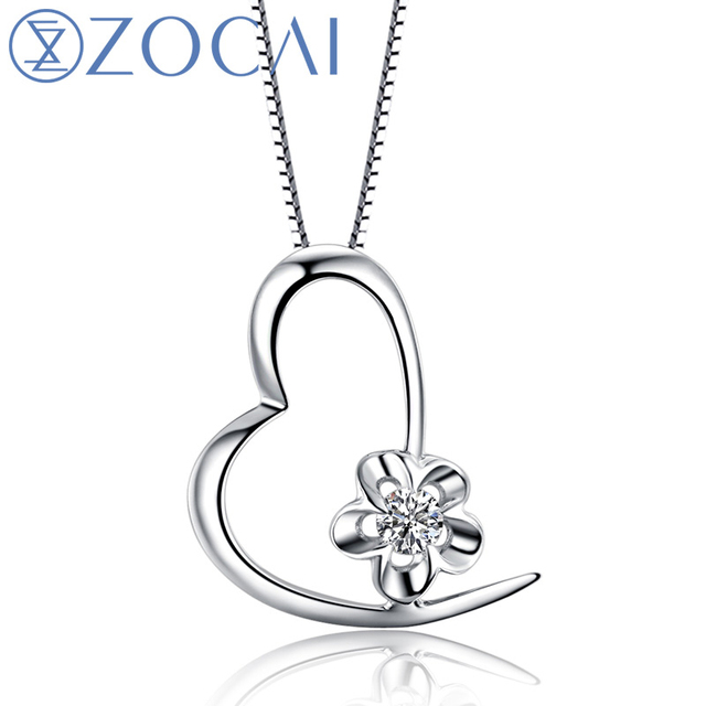 ZOCAI Heart Reflection 18K White Gold 0.05 CT Certified H / SI Diamond Pendant with 925 Silver Chain Necklace D00006