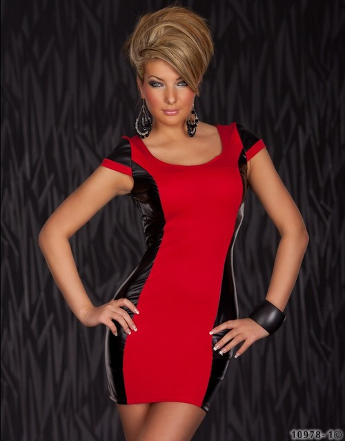 M XXL Plus Size 2014 New Fashion Women Red and Black Leather Patchwork Bodycon Dress Sexy Cocktail Party Dress 2305