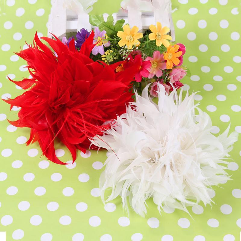 Ladies Fashion Prom Bridal Wedding Flower Fascinator Feather Elastic Pin Hair Wrist Corsage(China (Mainland))