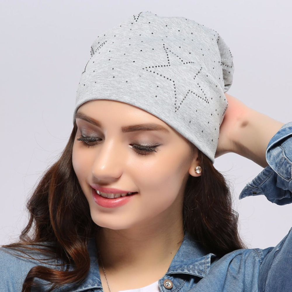 2017 Geebro Authentic Women's Winter Slouchy Star Beanies Women Autumn Warm Cotton Skullies Beanie Hat Red Gray Color JS262A(China (Mainland))