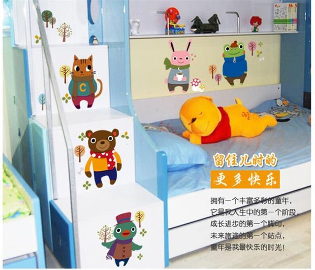 Оптовая продажа мультфильм животных съемный пвх декоративная роспись стены стикеры AY6043 мультфильм стен для детей номеров рождество
