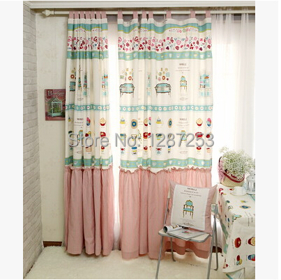 Pastoral kids curtain hanging window curtain for living room floral print baby curtains home decoration cortina kids curtains