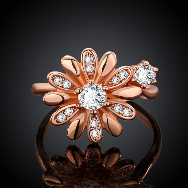 Fashion Cubic Zircon Crystal Daisy Flower Ring 18K/Rose/White Gold Plated Women Jewelry(China (Mainland))