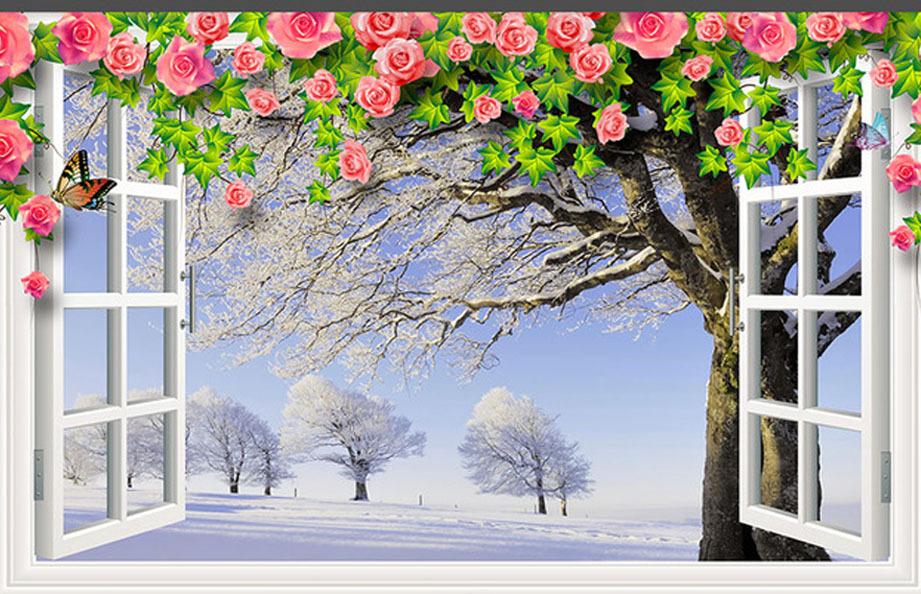 Aliexpress.com Comprar Moda varios wallpaper ventana blanca flores de vid hermosa escena de invierno mural simple telón de fondo 3D envío gratis de papel