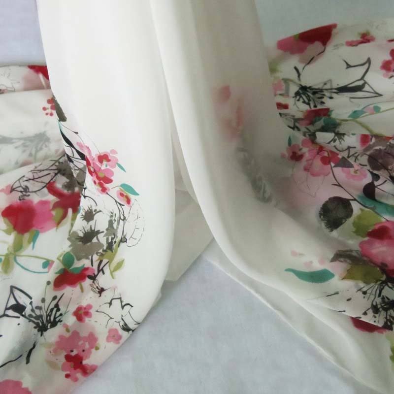 new arrival white ground dress gowns fabric red flowers position print chiffon gauze material meter(China (Mainland))