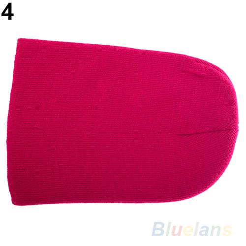Women Men New Winter Solid Color Plain Beanie Knit Ski Cap Skull Hat Warm Cuff Blank