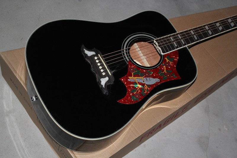 Chinese Factory Custom shop Free Shipping new Top Quality in Real photo black hummingbird acoustic guitar 4 8(China (Mainland))