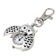 2015 Special Designed Pocket Fob Watch Mini Metal Key Ring owl Double Open Quartz Alloy Analog Watch Clock Silver Freeshipping(China (Mainland))
