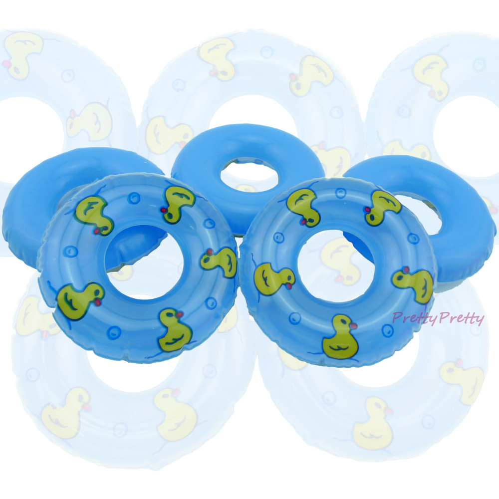 Wholesale  Free Delivery 25 Pcs Doll Equipment Blue Swimming Buoy Lifebelt Ring For Barbie Doll Woman Reward  Child Toys