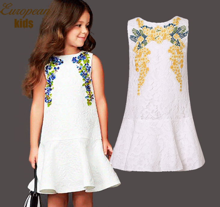 Girls Dresses Summer 2015 Brand Kids Dresses for Girls Clothes Floral Print Girls Lace Dress Sleeveless Autumn Children Dress(China (Mainland))