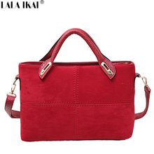 Designer Brand Vintage Suede Bags for Woman Fashion Totes Ladies Handbag Women Crossbody Bag Satchels Wine Red BWC0542(China (Mainland))