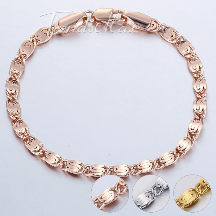 4mm Womens Mens Chain Girls Boys Unisex Snail Link 18K Rose Gold Filled GF 18.4cm Bracelet Wholesale Gift Jewelry GBM85(Hong Kong)