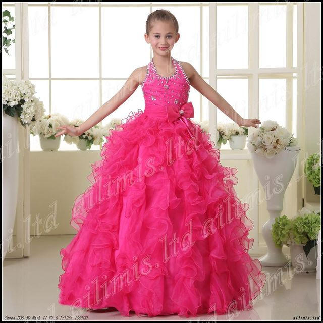 Halter Rose Red Style Flower Girl Pageant Wedding Dress Size 2.4.6.8.10.12.14.16