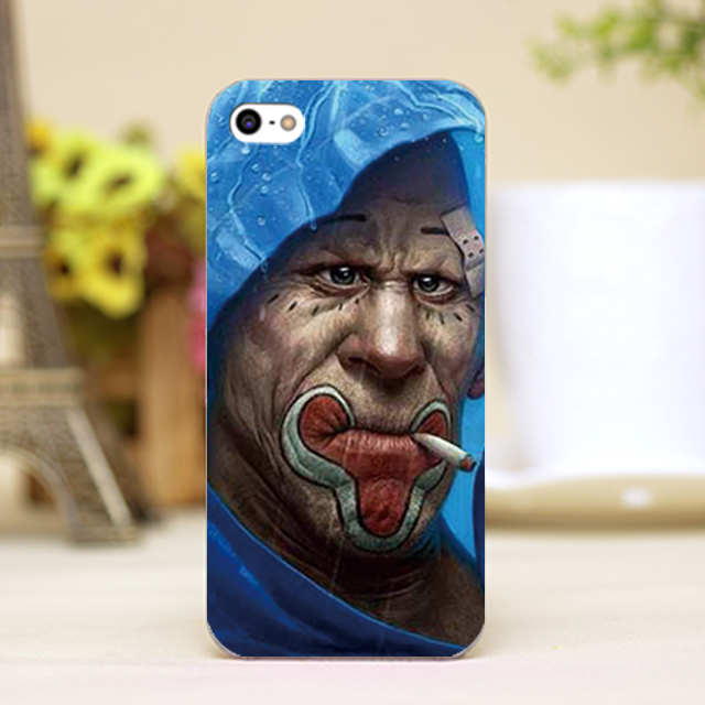 pz0042-33 blue hat red lip smoking old man Design phone transparent cover cases for iphone 4 5 5c 5s 6 6plus Hard Shell(China (Mainland))