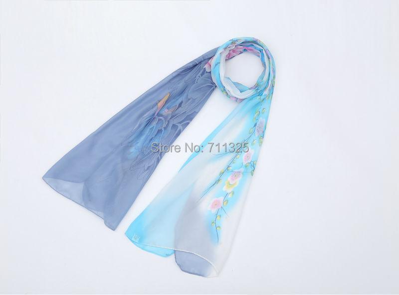 Chiffon Silk Scarf Absract Flower Print Female Summer Autumn Wrap Long Design Cape Silk Scarves Shawl Bks17(China (Mainland))