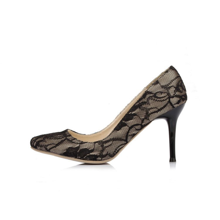 Sexy Black Lace Women Wedding Shoes Pointed Toes Spring Autumn Women Party Bridesmaid Shoes EU33-41 086