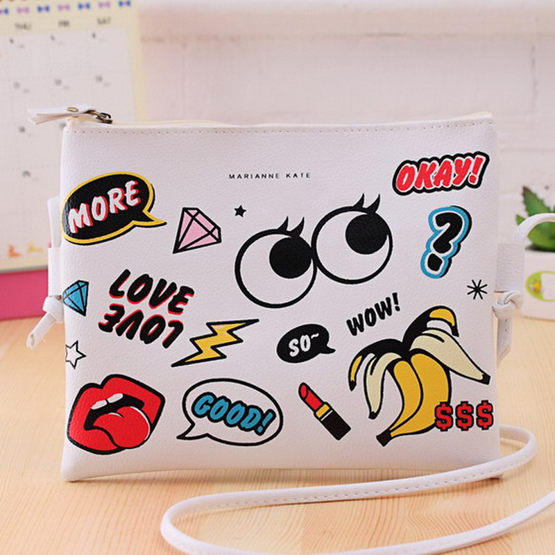 New Fashion Cartoon Printed Women Graffiti Handbag Mini Crossbody Shoulder Bag Ladies Casual Purses Clutches Girls