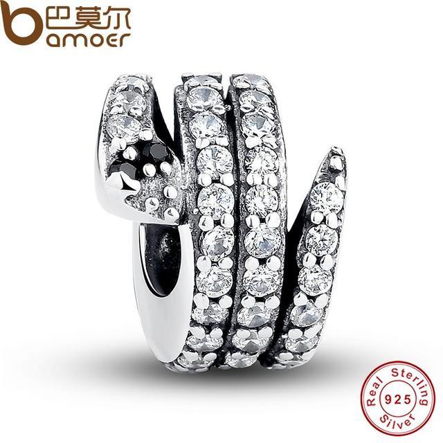 Подарок Стерлингового Серебра 925 Игристые Змея, ясно CZ & Черный Кристалл Подвески ...