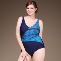 Sexy Backless Plus Size Ladies Beach Swimsuits Water Color Patchwork One Piece Swimwear Padded Slim Bodysuit Monokini Blue Red