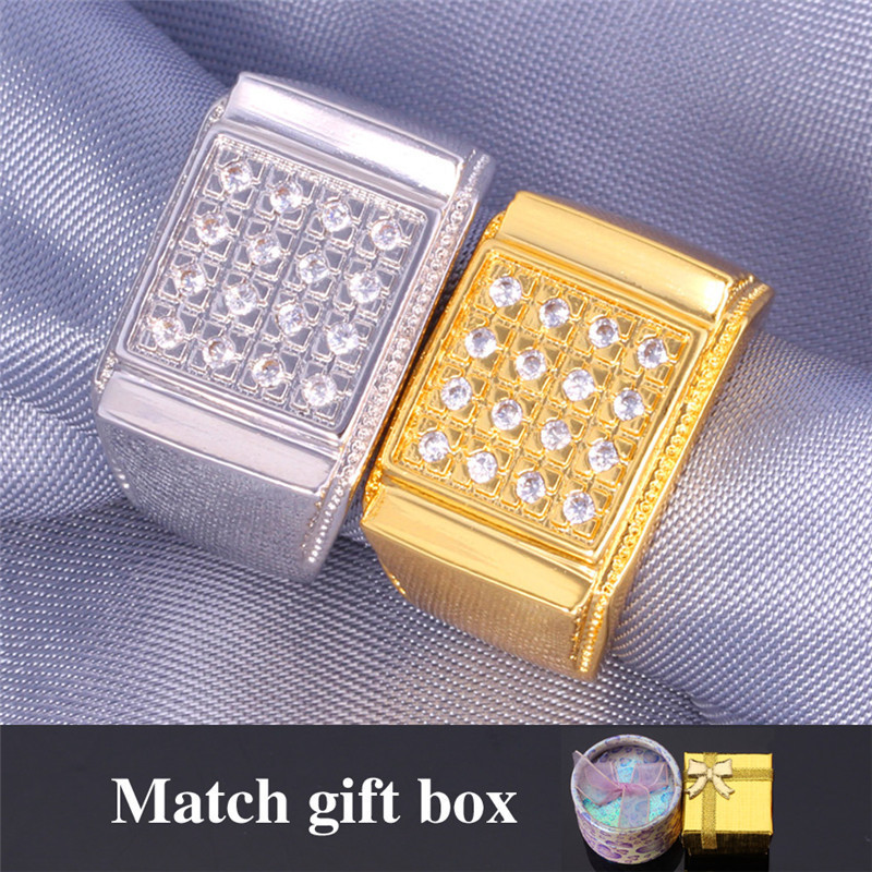 Men's Jewelry Simple Ring With Ring Box 18K Real Gold Cubic Zircon Stone Wedding Rings For Men Fashion Jewelry For Men MGC R353K(China (Mainland))