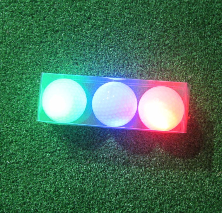 3pcs red / green / blue assorted color Great quality night golf LED luminous glowing golf ball(China (Mainland))