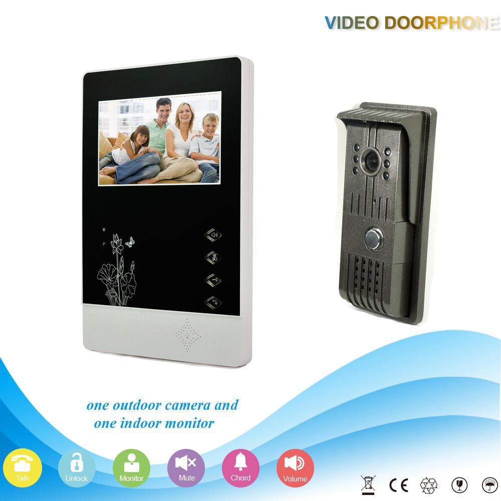 XSL-V43D11-F 1V1 XINSILU Manufacturer Hot sale 4.3Inch Home Security Smart Video Door Phone with electronic lock Intercom System(China (Mainland))