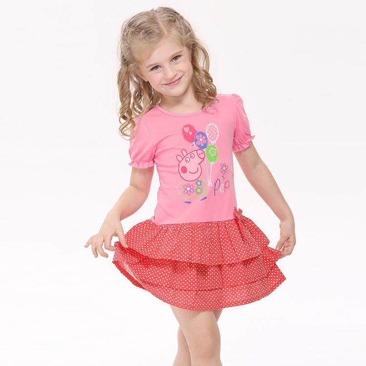 Cartoon character girl clothes baby dresses nova kid wear children casual kids girls fashion design