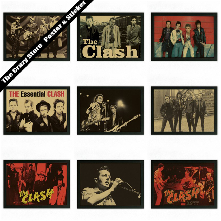The Clash rock theatrical poster retro nostalgia kraft paper decorative painting wall sticker(China (Mainland))