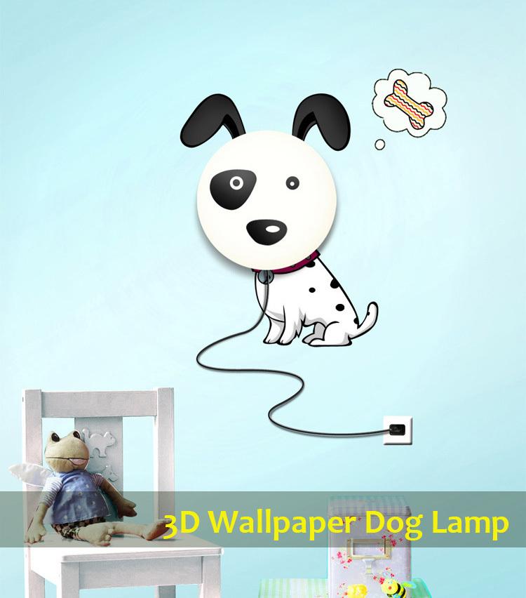 Bambini cane adesivi murali lampada 3d wallpaper lampada ...
