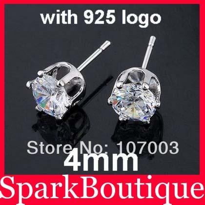 Wholesale 4mm CZ Stud Earrings Zircon Stud Earrings 925 Sterling Silver Stud Earrings 20pair/lot