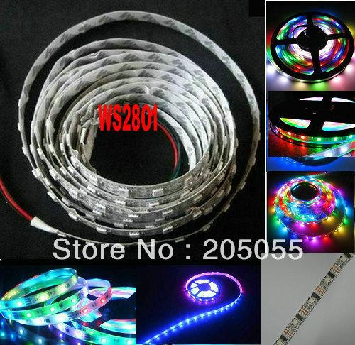 5M 16.4F 5V WS2801 addressable RGB LED magic dream color Strip light 32Leds/M non-Waterproof(China (Mainland))