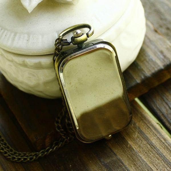 Vintage Bronze Quartz Steampunk Pocket Watch Dual Double Time Zone Movement Necklace Chain Relogio De Bolso