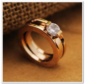 Titanium Steel 2 in1lover rhinestone wedding engagement rings for women and men's jewelry-Free Shipping RI007